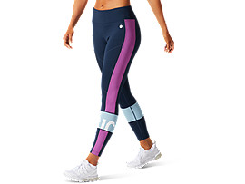 ASICS Color Block Cropped Tight 2 French Blue / Digital Grape Mujer