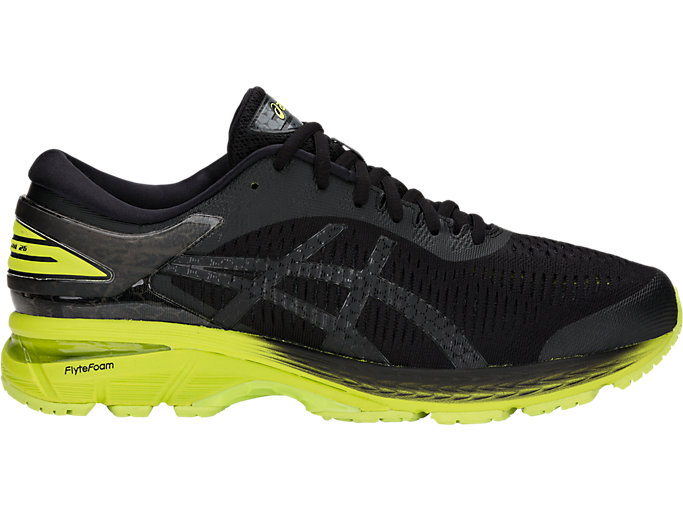 Men's GEL-KAYANO 25 | BLACK/NEON LIME | Running | ASICS Outlet