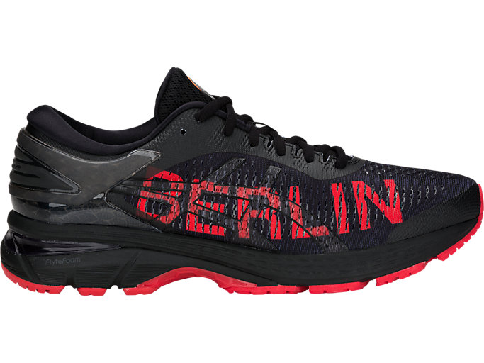 Right side view of GEL-KAYANO 25 BERLIN, BLACK/CLASSIC RED