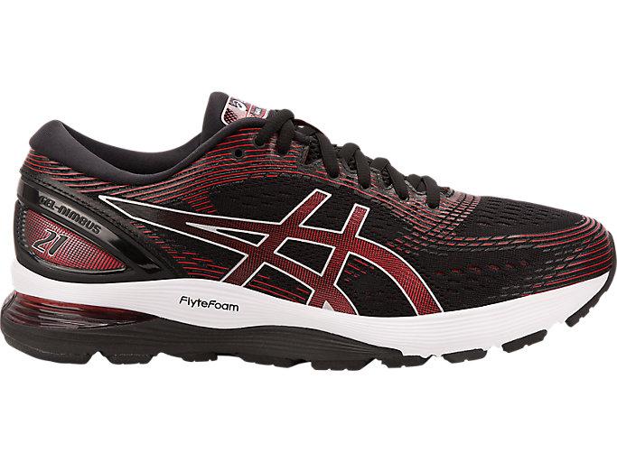 Men's GEL-NIMBUS 21   Black/Classic Red   Running Shoes   ASICS