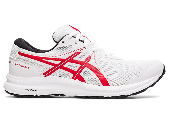 Men S Gel Contend 7 White Classic Red Running Shoes Asics