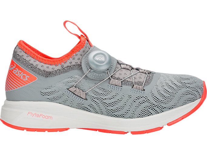 Right side view of Dynamis 2, STONE GREY/FLASH CORAL
