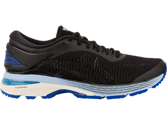 Right side view of GEL-KAYANO 25, BLACK/ASICS BLUE