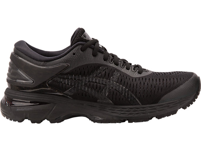Right side view of GEL-KAYANO 25, BLACK/BLACK