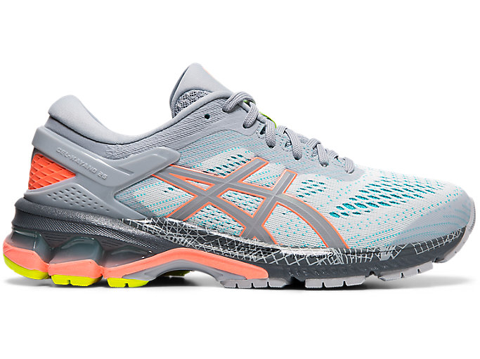 Alternative image view of GEL-KAYANO 26 LS, Piedmont Grey/Sun Coral