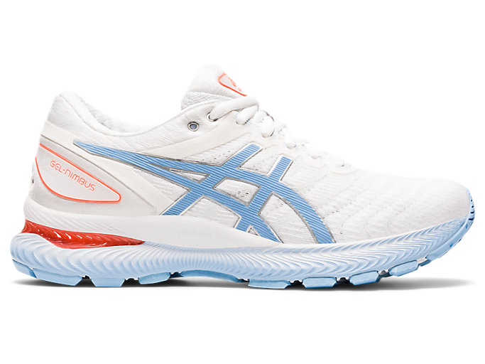 Right side view of GEL-NIMBUS 22, WHITE/BLUE BLISS