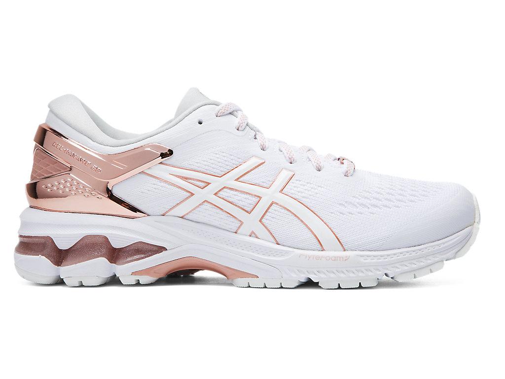 Women's GEL-KAYANO 26 PLATINUM | White/Rose Gold | Running Shoes ...