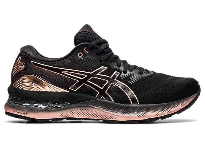 Women's GEL-NIMBUS 23 PLATINUM   Black/Rose Gold   Running Shoes ...