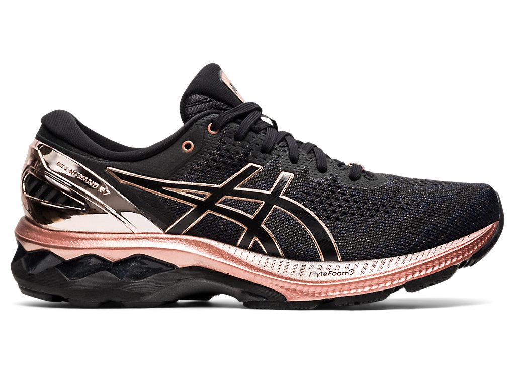 Women's GEL-KAYANO 27   Black/Rose Gold   Running Shoes   ASICS