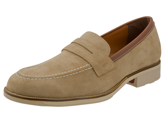 Right side view of ランウォーク メンズ 3E, BEIGE/N