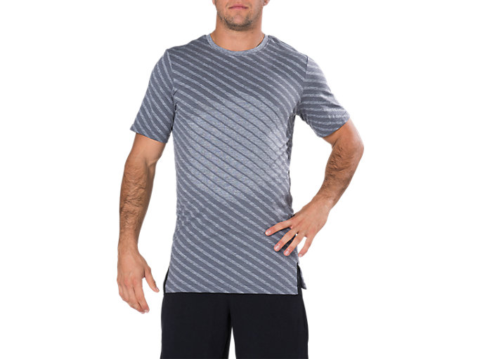 Front Top view of SEAMLESS SS TOP, DARK GREY HEATHER