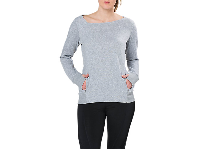 Front Top view of W FUZEX CREW TOP, MID GREY HEATHER