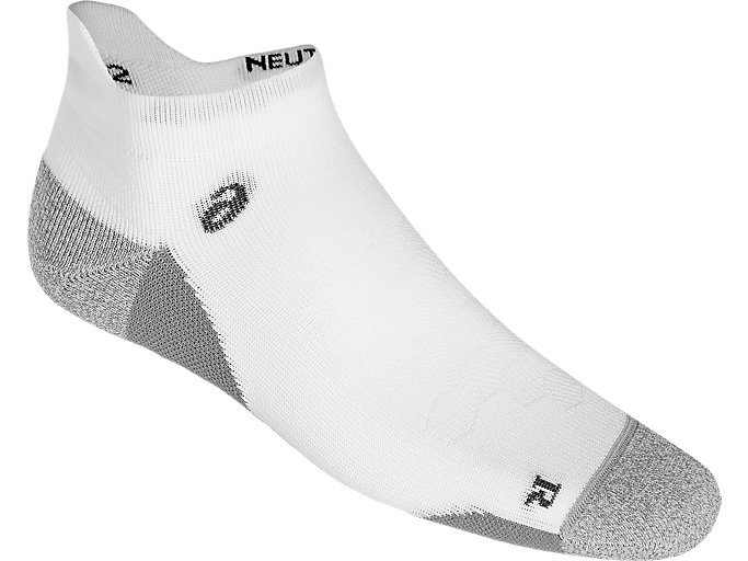 Front Top view of ROAD NEUTRAL ANKLE SINGLE TAB, REAL WHITE/ MID GREY