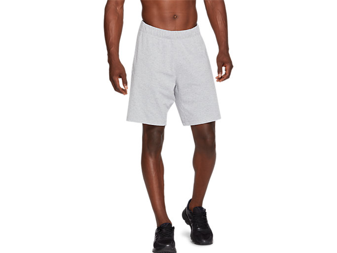 Front Top view of TRAINING SHORT, HEATHER GREY