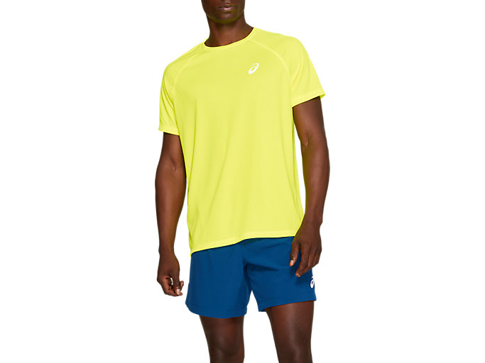 Front Top view of SPORT RUN TOP, SAFETY YELLOW