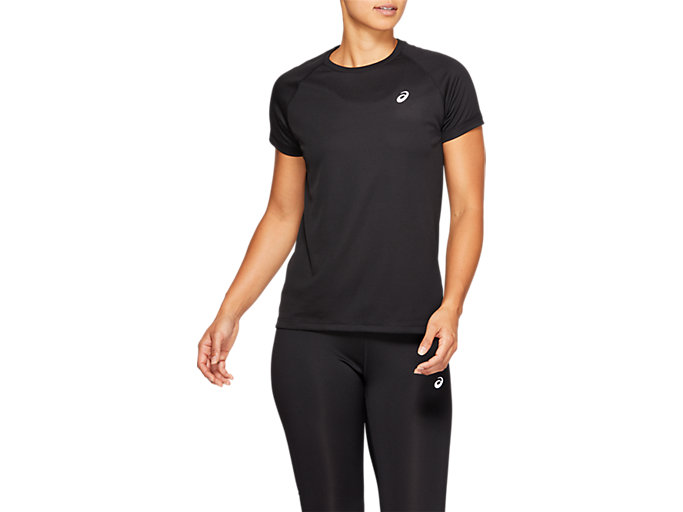 Front Top view of SPORT RUN TOP, PERFORMANCE BLACK