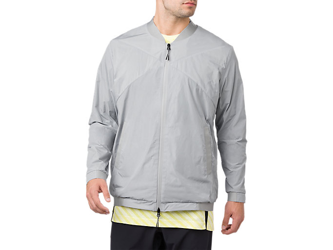 Front Top view of WOVEN BOMBER JACKET, MID GREY