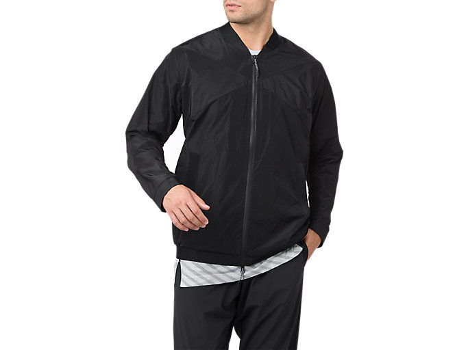 Front Top view of WOVEN BOMBER JACKET, PERFORMANCE BLACK