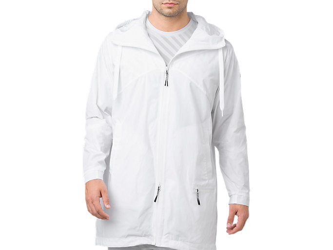 Front Top view of LONG COAT FZ HOODIE, BRILLIANT WHITE