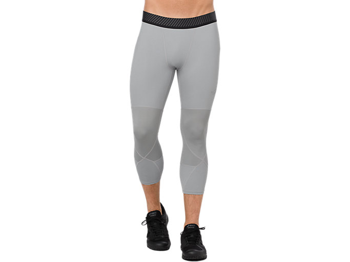 Front Top view of ASICS BASE LAYER 3/4 TIGHT, STONE GREY