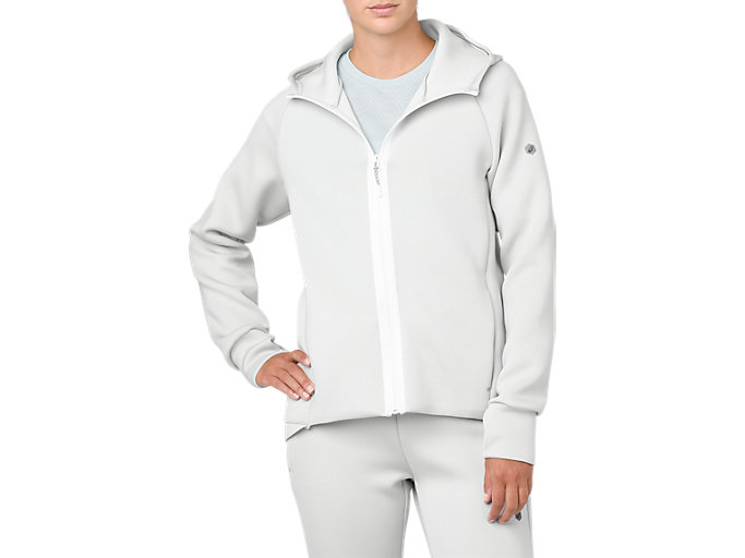Front Top view of FULL ZIP HOODIE, BRILLIANT WHITE