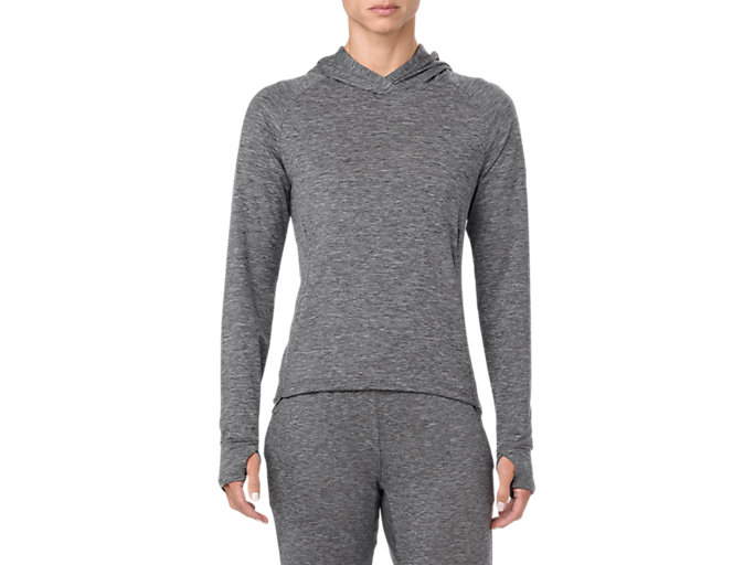 Front Top view of SWEAT PO HOODIE, PERFORMANCE BLACK HEATHER