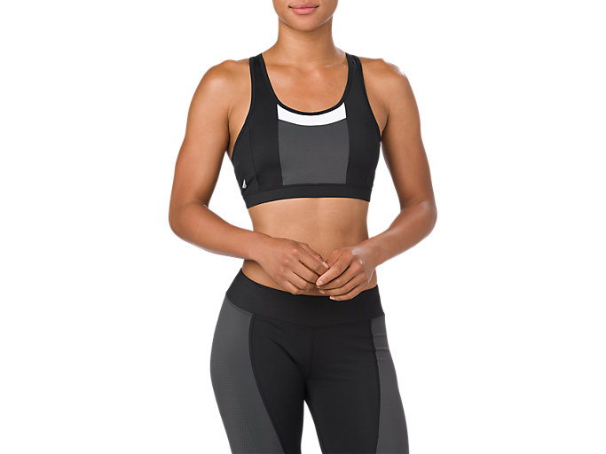 Front Top view of COLOR BLOCK BRA, PERFORMANCE BLACK