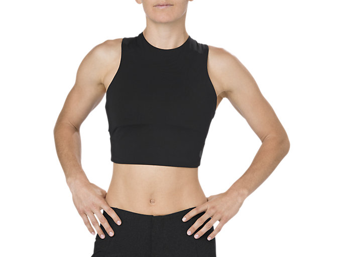 Front Top view of BEST CROP TANK, PERFORMANCE BLACK
