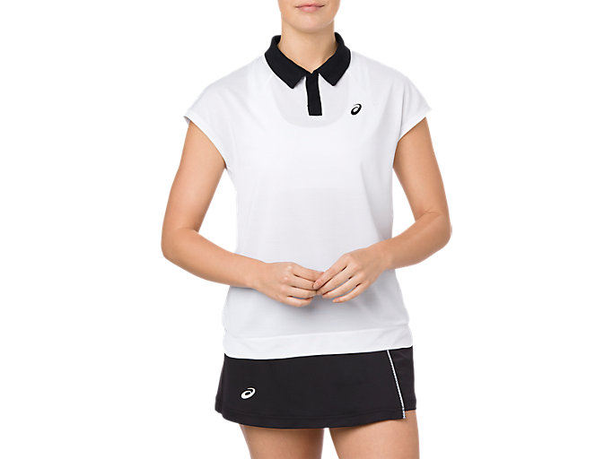 Front Top view of CLASSIC POLO TOP, BRILLIANT WHITE