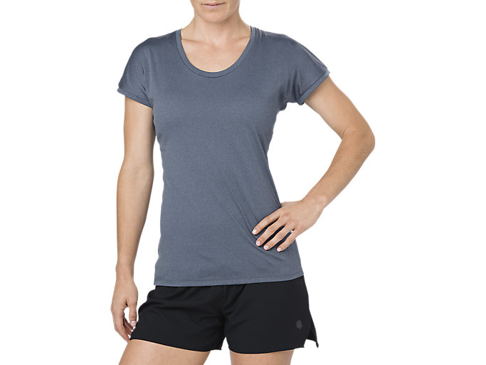 Alternative image view of CAPSLEEVE TOP, DARK BLUE HEATHER