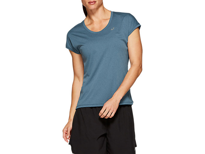 Alternative image view of CAPSLEEVE TOP, MAKO BLUE HEATHER