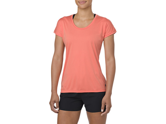 Alternative image view of CAPSLEEVE TOP, CORALICIOUS HEATHER