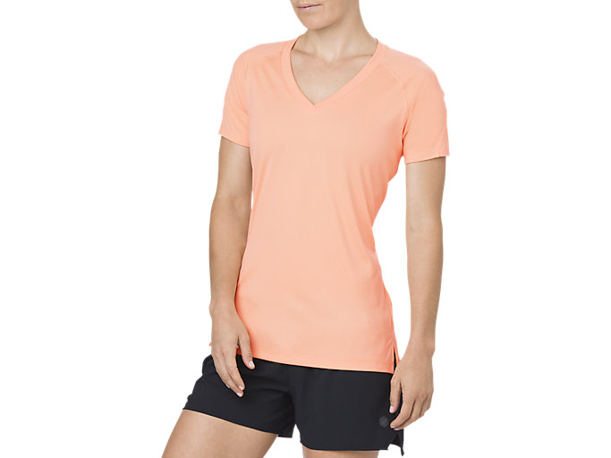 Front Top view of V-NECK SS TOP, APRICOT ICE