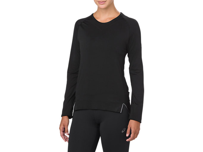 Front Top view of SEAMLESS LS, PERFORMANCE BLACK