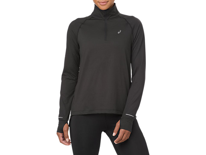 Front Top view of THERMOPOLIS LS 1/2 ZIP, SP PERFORMANCE BLACK