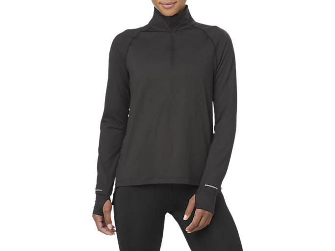 Front Top view of THERMOPOLIS LS 1/2 ZIP, PERFORMANCE BLACK