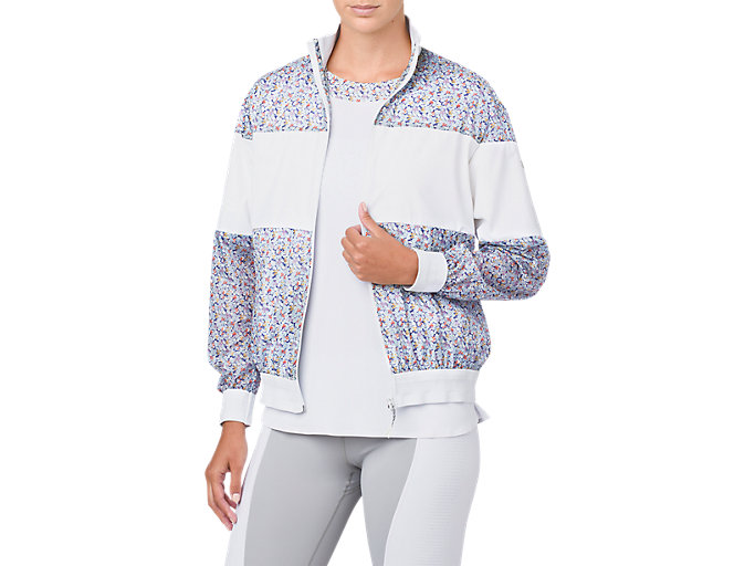 Front Top view of LP PRINT WIND JACKET, BRILLIANT WHITE