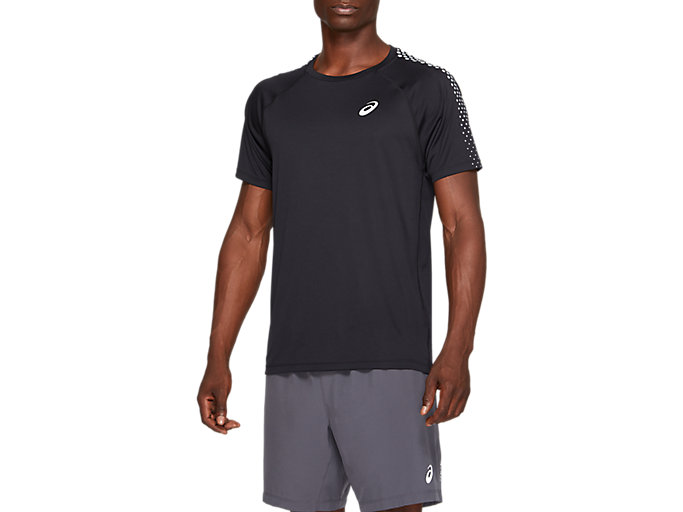 Alternative image view of STRIPE SS TOP, PERFORMANCE BLACK/SILVER