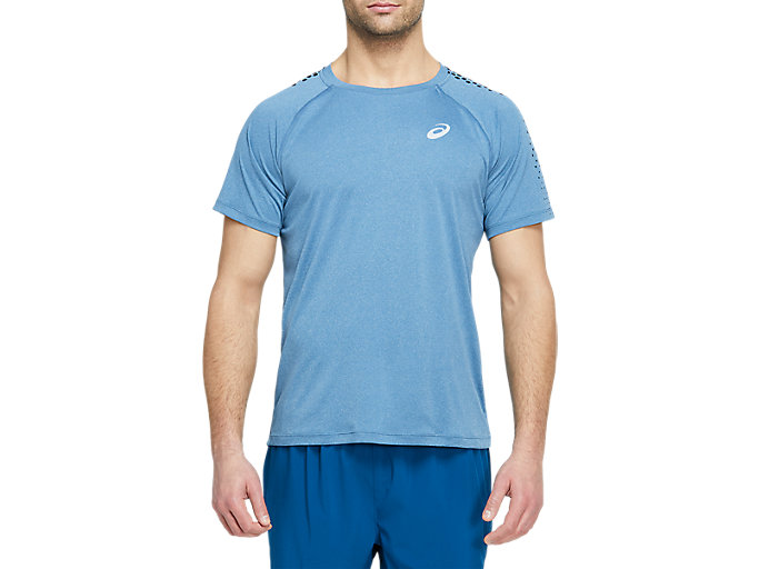 Alternative image view of STRIPE SS TOP, MAKO BLUE HEATHER/PERFORMANCE BLACK