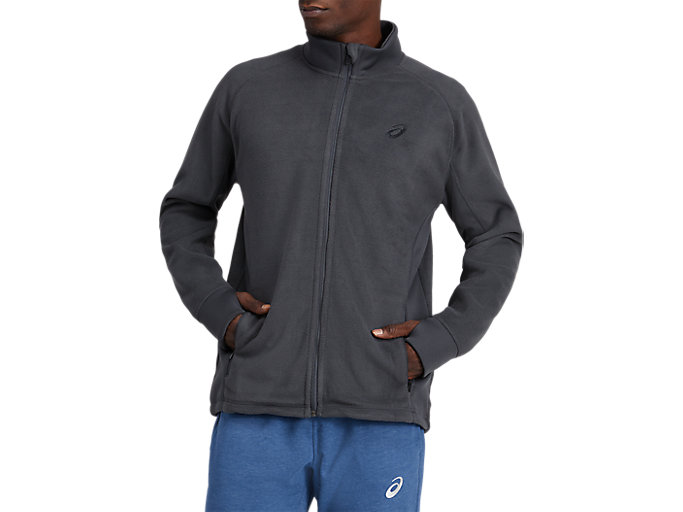 Alternative image view of POLAR FLEECE JACKET, DARK GREY