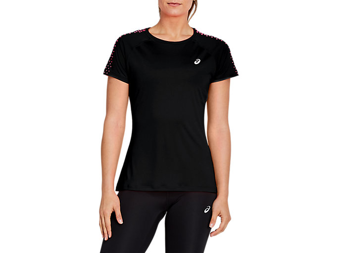 Alternative image view of STRIPE SS TOP, Performance Black/Diva Pink