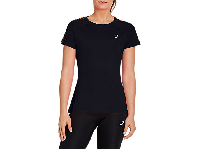 Alternative image view of STRIPE SS TOP, Performance Black/Flash Coral