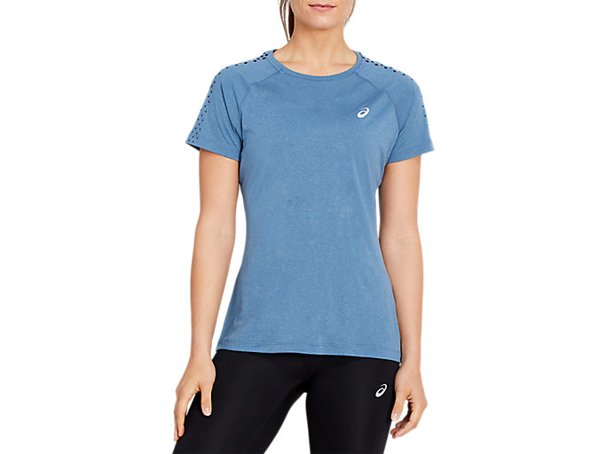 Alternative image view of SPORT STRIPE SS TOP, MAKO BLUE HEATHER/PERFORMANCE BLACK