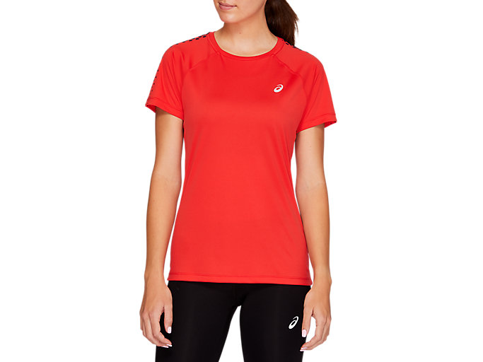 Alternative image view of SPORT STRIPE SS TOP, RED ALERT
