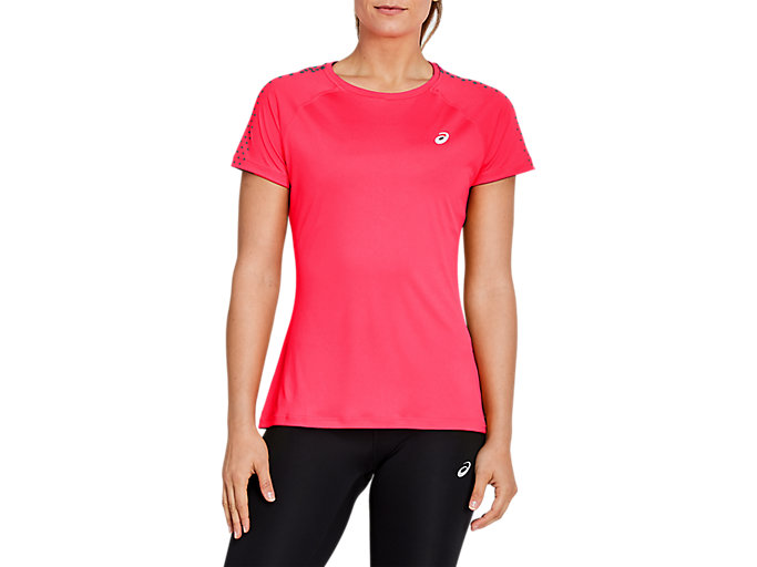 Alternative image view of SPORT STRIPE SS TOP, DIVA PINK/DARK GREY