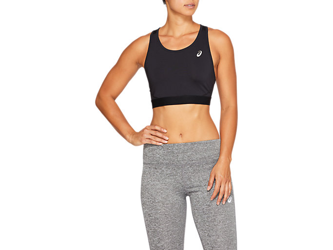 Front Top view of SPORT BRA TOP, PERFORMANCE BLACK