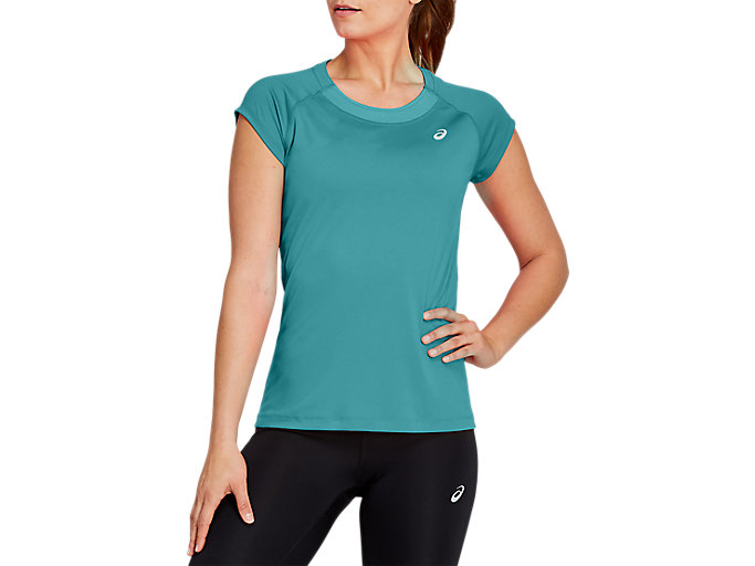 Alternative image view of CAPSLEEVE TOP, Techno Cyan