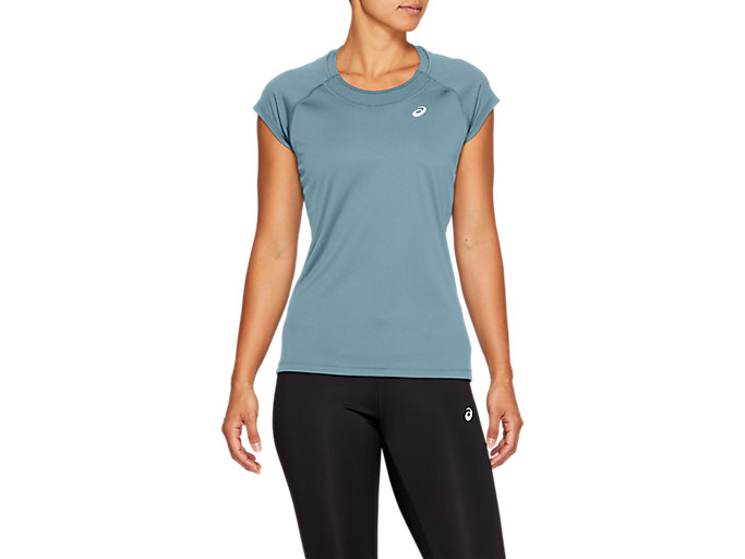 Alternative image view of CAPSLEEVE TOP, Smoke Blue