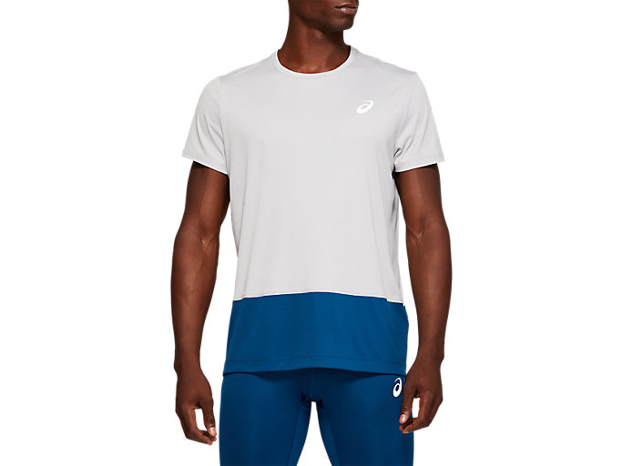 Front Top view of SPORT CB TEE, MID GREY HEATHER/MAKO BLUE
