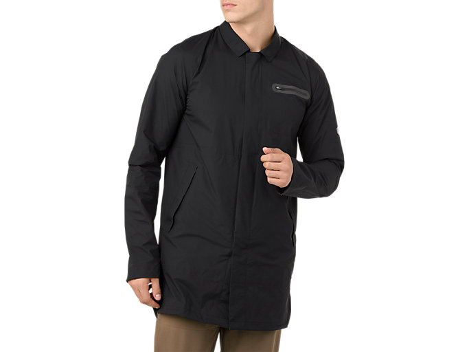 Front Top view of METARUN TRENCH, PERFORMANCE BLACK